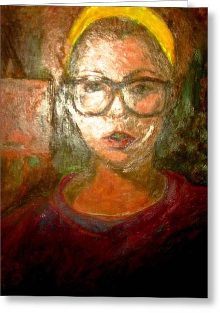 Self Portrait In Yellow Headband Greeting Card