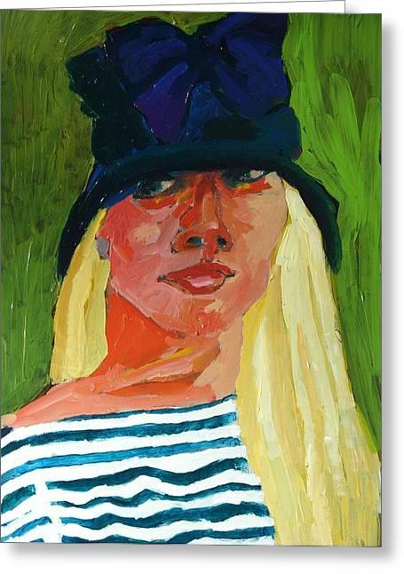 Self-portrait No . 1 Greeting Card by Janet Ashworth