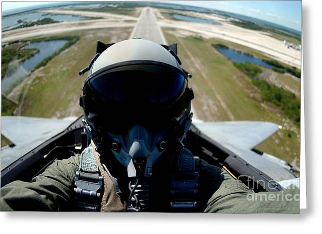 Self Portrait Of A Pilot In The Back Greeting Card