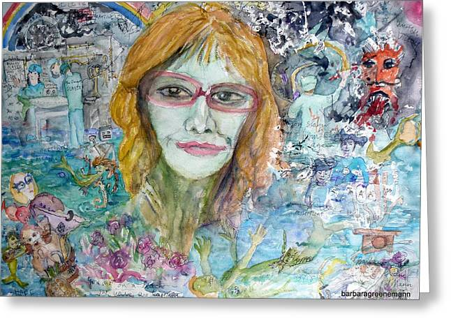 Self Portrait, I Survived Lung Cancer Survival Greeting Card by Barb Greene mann