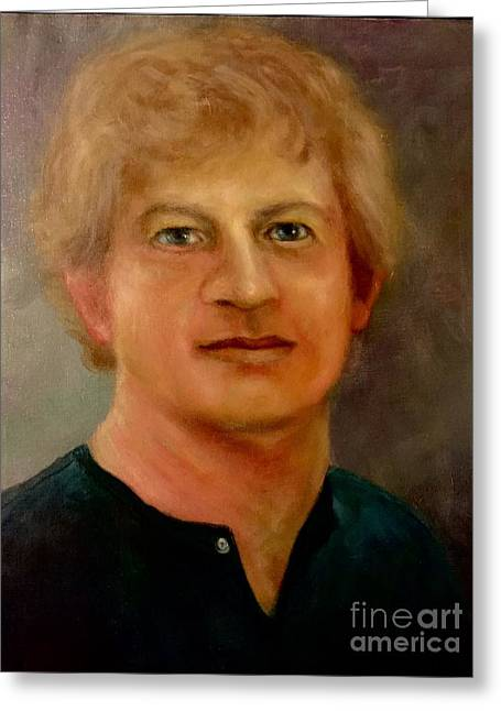 Greeting Card featuring the painting Self Portrait by Randol Burns