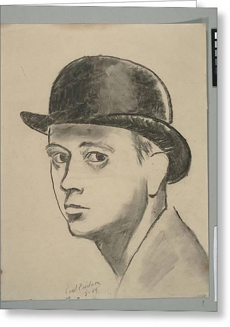 Self-portrait Sketch Of Carl Erickson Greeting Card by Carl Oscar August Erickson