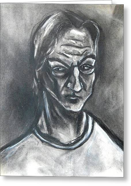 Greeting Card featuring the drawing Self-portrait Wearing T-shirt - 1983 by Kenneth Agnello