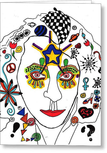 Self Portrait With Designs Greeting Card