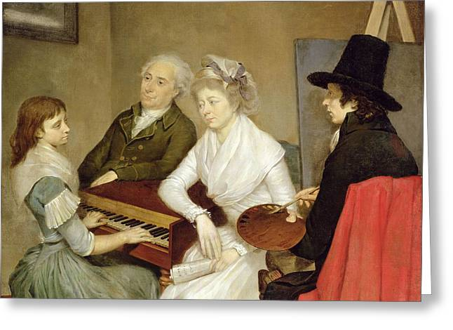 Self Portrait With Family Oil On Canvas Greeting Card by Georg Ludwig Eckhardt