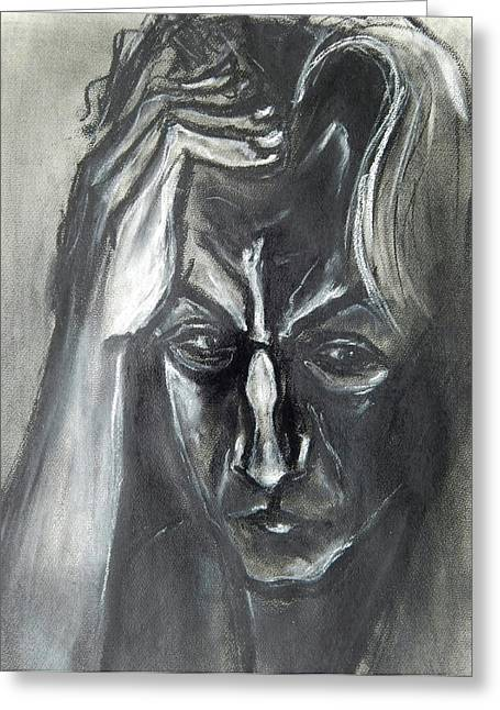 Greeting Card featuring the drawing Self-portrait With Hand On Head - 1983 by Kenneth Agnello