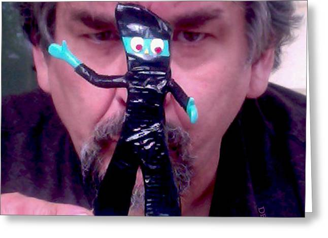 Self Portrait With Ninja Gumby Greeting Card by Del Gaizo