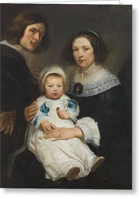 Self Portrait With Wife Catherine De Hemerlaer And Son Jan Erasmus Quellinus, 1635-36 Oil On Canvas Greeting Card