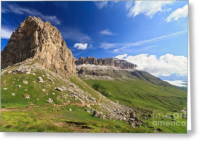 Greeting Card featuring the photograph Sella Mountain And Pordoi Pass by Antonio Scarpi