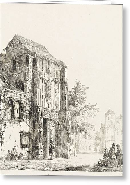 Sellers For A Church Portal, Cornelis Springer Greeting Card by Quint Lox