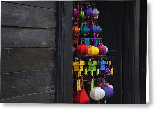 Selling Colorful Lanterns In Hoi An Greeting Card by Keren Su