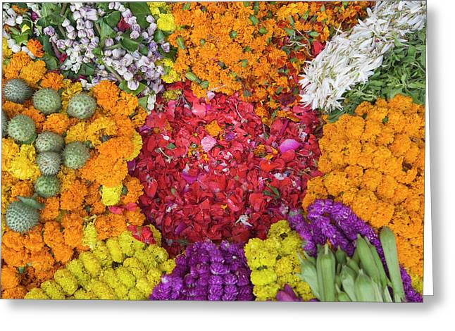 Selling Flowers For Diwali, Festival Greeting Card