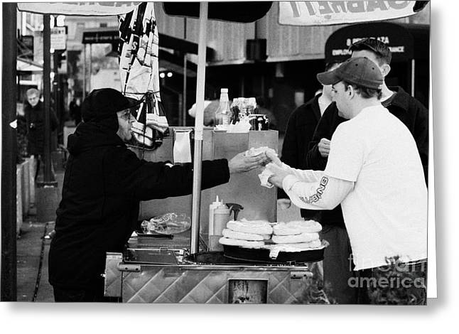 Selling Hot Dogs New York City Manhattan Greeting Card by Joe Fox