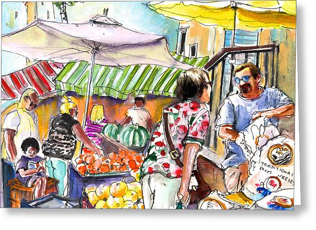 Selling Jersey Potatoes In Turre Greeting Card by Miki De Goodaboom