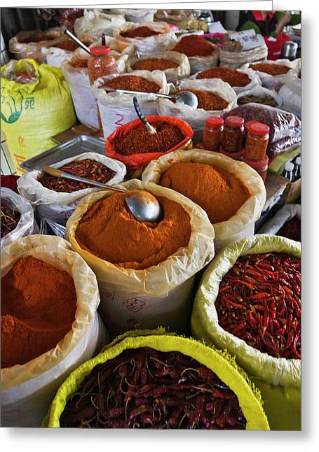 Selling Spices At The Market, Guilin Greeting Card