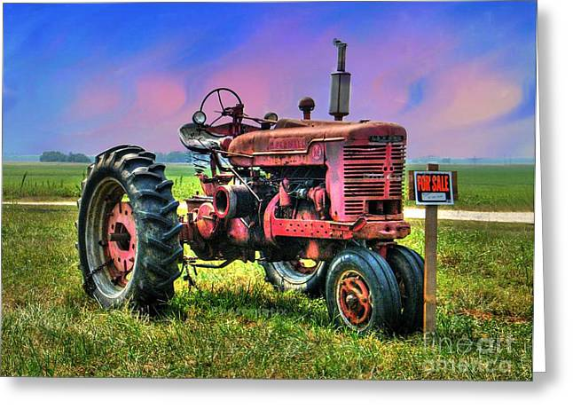 Selling The Farmall Greeting Card by Julie Dant