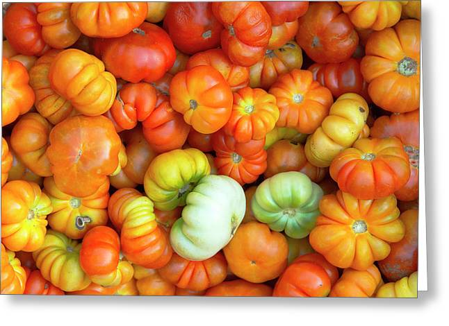 Selling Tomatoes At The Market Greeting Card by Keren Su