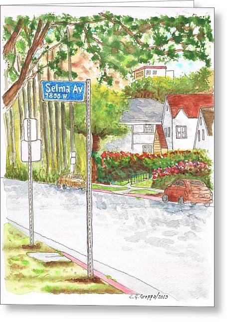 Selma Ave In West Hollywood - California Greeting Card by Carlos G Groppa