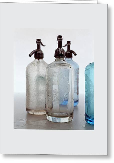 Seltzer Bottles Greeting Card by Romulo Yanes