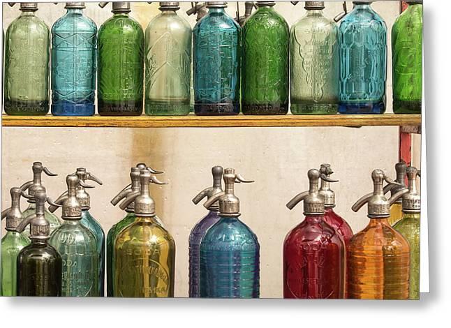 Seltzer Bottles Greeting Card by Ugur Erkmen