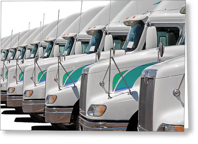 Semi Truck Fleet Greeting Card by Gunter Nezhoda