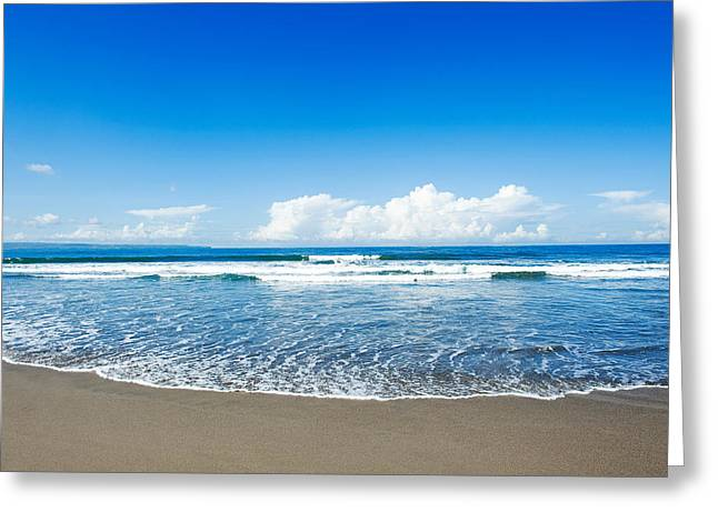 Greeting Card featuring the photograph Seminyak Beach by Yew Kwang
