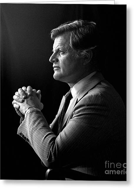 Greeting Card featuring the photograph Senator Edward Ted Kennedy 1976 by Martin Konopacki Restoration