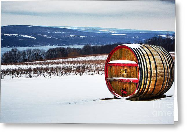Seneca Lake Winery In Winter Greeting Card
