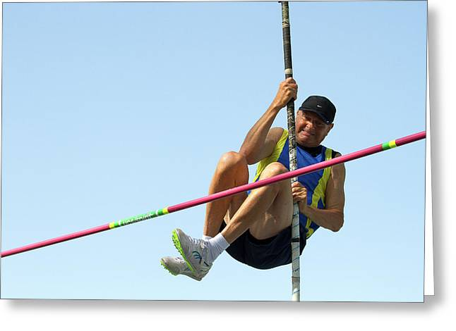 Senior Athlete Might Not Clear Pole Vault Greeting Card