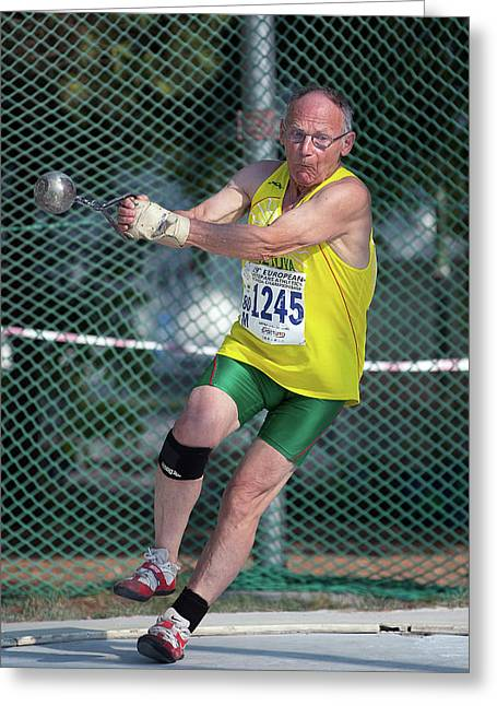 Senior Athlete Prepares Hammer Throw Greeting Card
