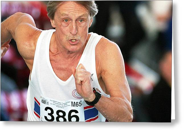 Senior British Masters Athlete Running Greeting Card by Alex Rotas