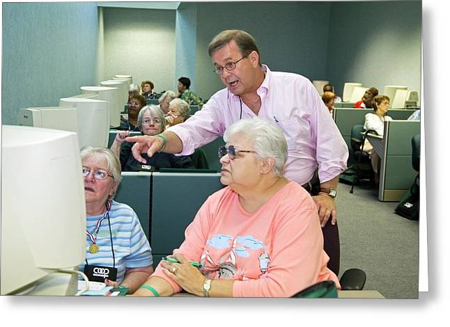 Senior Citizens Learning To Use Computers Greeting Card by Jim West