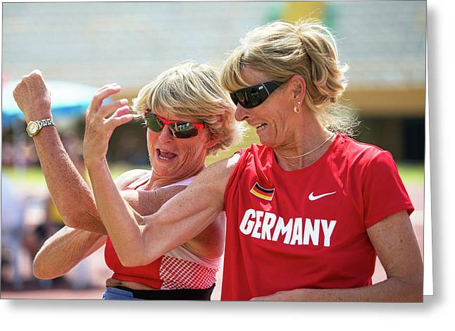 Senior Female Athletes Compare Biceps! Greeting Card