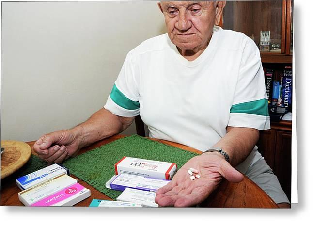 Senior Man With Prescription Drugs Greeting Card by Public Health England