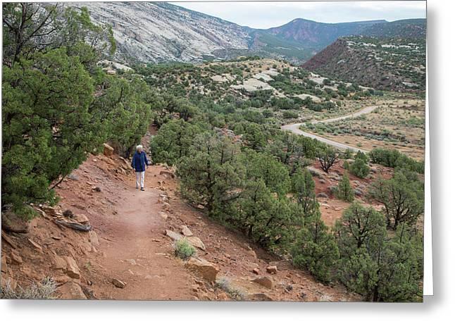 Senior Woman Hiking Greeting Card by Jim West
