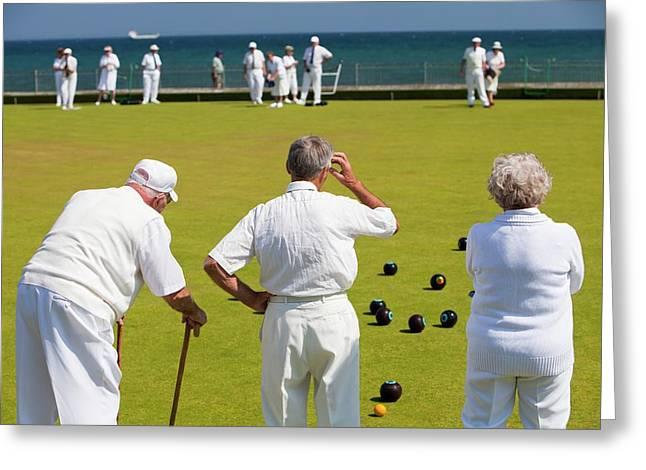 Seniors Playing Bowls At Penzance Greeting Card