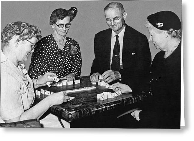 Seniors Playing Dominos Greeting Card by Underwood Archives