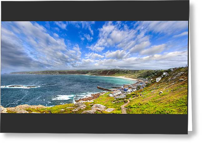 Sennen Cove Panorama - Cornwall Greeting Card by Mark E Tisdale