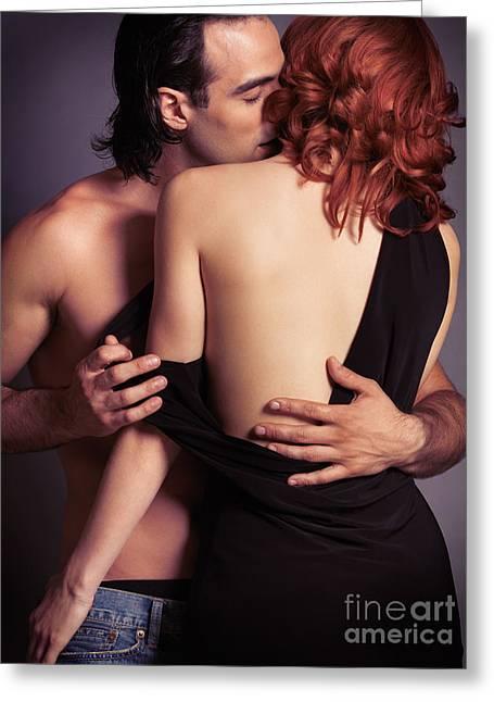Sensual Couple Portrait Of Man Kissing Woman Greeting Card by Oleksiy Maksymenko
