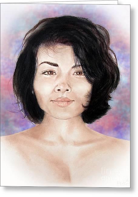 Sensual Filipina Beauty  Greeting Card by Jim Fitzpatrick