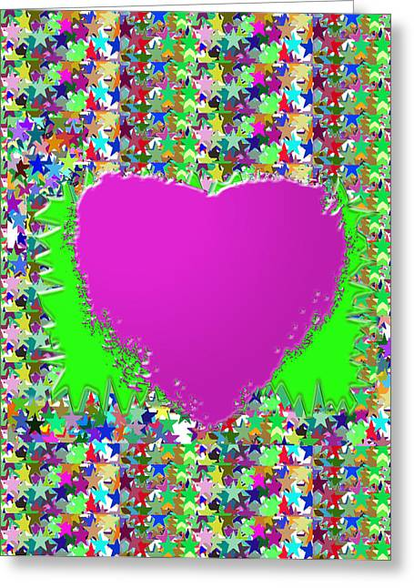 Sensual Pink Heart N Star Studded Background Greeting Card by Navin Joshi