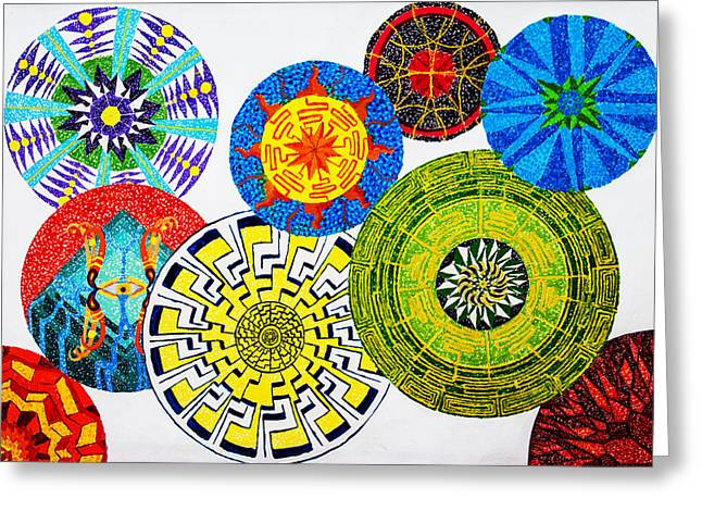Sentient Mandalas Greeting Card by Maxwell Hanson