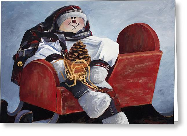 Sentimental Snowman Greeting Card by Mary Giacomini