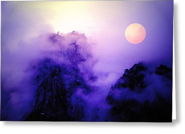 Sentinal Rock And Moon Shrouded In Mist Greeting Card