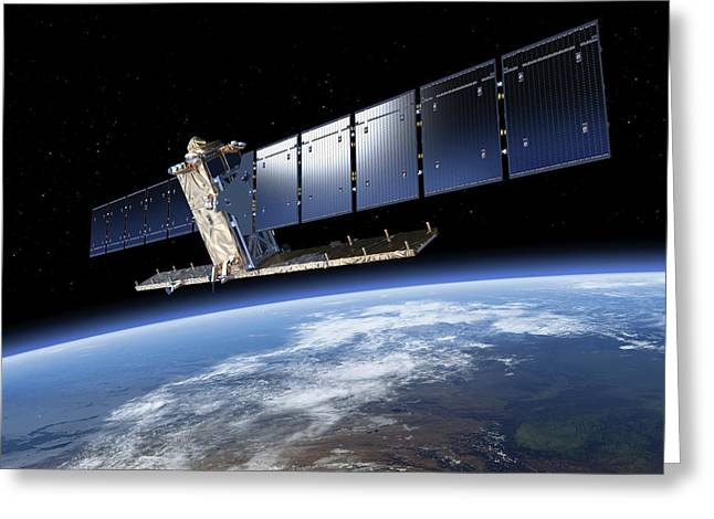 Sentinel-1 Satellite In Orbit Greeting Card