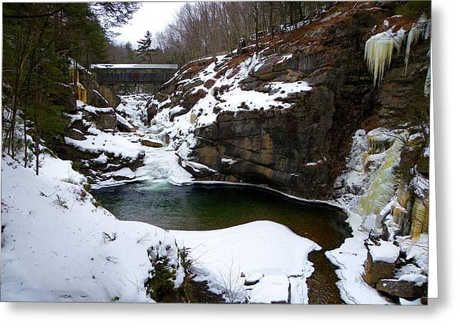 Sentinel Pine Bridge In Winter Greeting Card