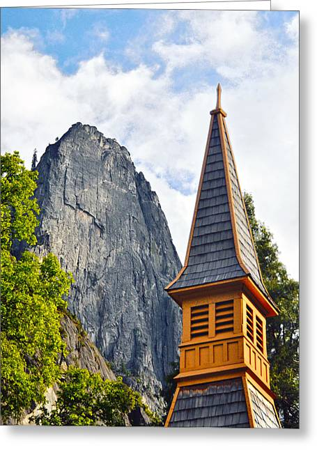Sentinel Rock And Yosemite Chapel Steeple Greeting Card