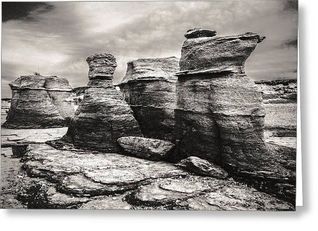 Greeting Card featuring the photograph Sentinel Rocks by Arkady Kunysz
