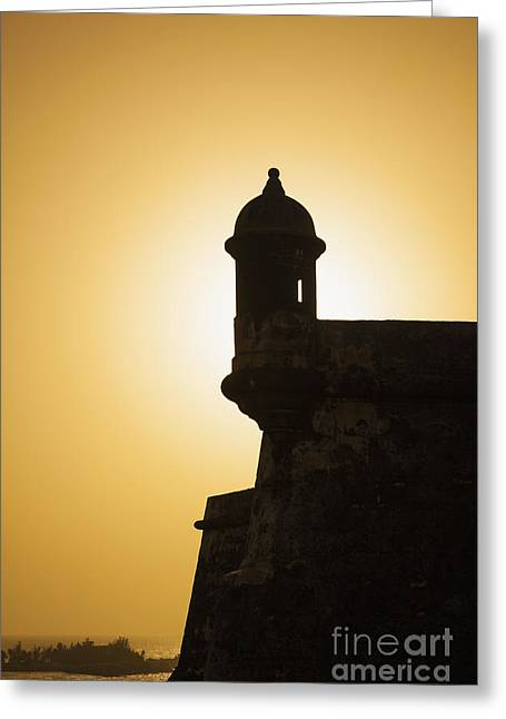Sentry Box At Sunset At El Morro Fortress In Old San Juan Greeting Card