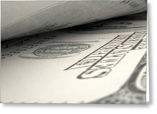 Separated Banknotes Close-up Detail Greeting Card